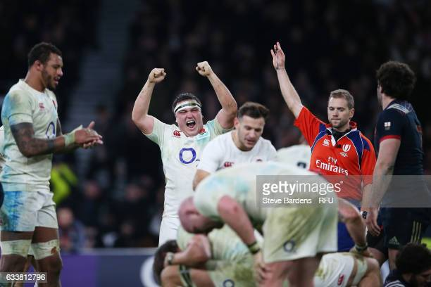 Jamie George of England and teammates celebrate their 1916 victory as the final whistle blows during the RBS Six Nations match between England and...