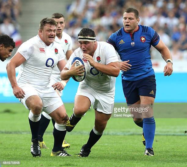 Jamie George of England breaks with the ball during the International match between France and England at Stade de France on August 22 2015 in Paris...