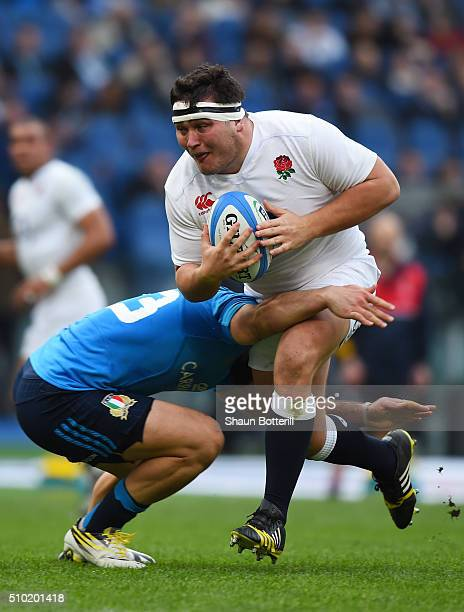 Jamie George of England is tackled by Michele Campagnaro of Italy during the RBS Six Nations match between Italy and England at the Stadio Olimpico...