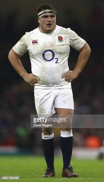 Jamie George of England looks on during the RBS Six Nations match between Wales and England at the Principality Stadium on February 11 2017 in...