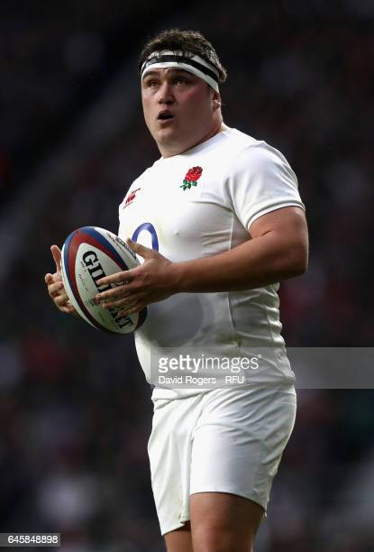 Jamie George of England looks on during the RBS Six Nations match between England and Italy at Twickenham Stadium on February 26 2017 in London...