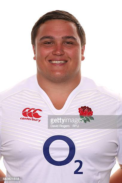 Jamie George of England poses for a portrait during the England squad photocall at Pennyhill Park on August 2 2015 in Bagshot England
