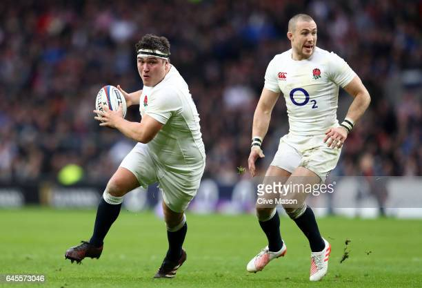 Jamie George of England runs with the ball during the RBS Six Nations match between England and Italy at Twickenham Stadium on February 26 2017 in...