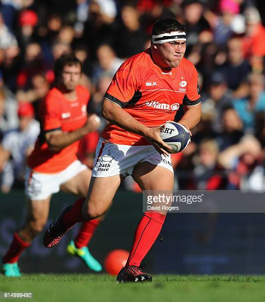 Jamie George of Saracens breaks with the ball during the European Rugby Champions Cup match between RC Toulon and Saracens at Stade Felix Mayol on...