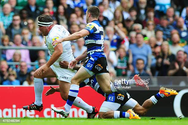 Jamie George of Saracens crashes over the line to score his team's second try during the Aviva Premiership Final between Bath Rugby and Saracens at...