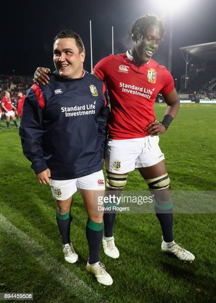 Jamie George of the Lions celebrates with team mate Maro Itoje after their victory during the match between the Crusaders and the British Irish Lions...