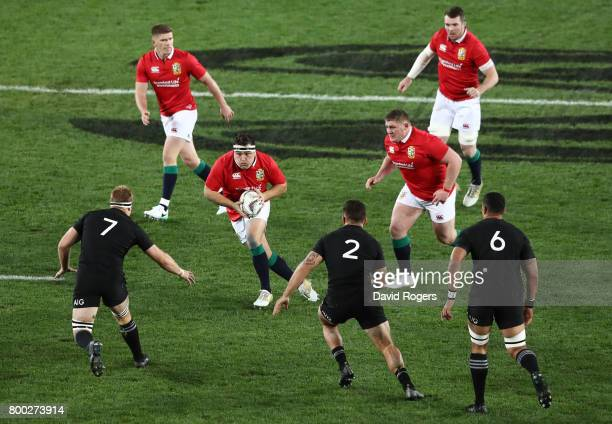 Jamie George of the Lions charges upfield during the first test match between the New Zealand All Blacks and the British Irish Lions at Eden Park on...
