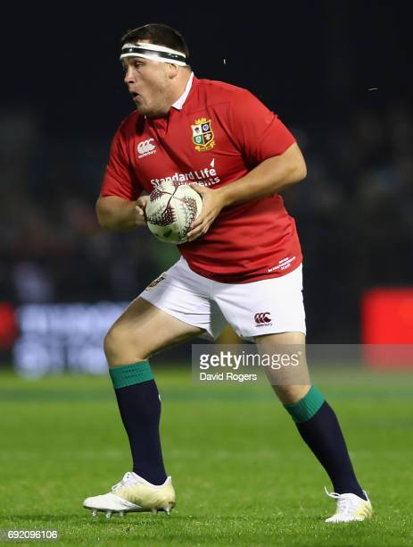 Jamie George of the Lions runs with the ball during the match between the New Zealand Provincial Barbarians and the British Irish Lions at Toll...