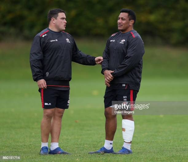 Jamie George the Saracens hooker talks to Mako Vunipola during the Saracens training session held at Old Albanians on October 11 2017 in St Albans...