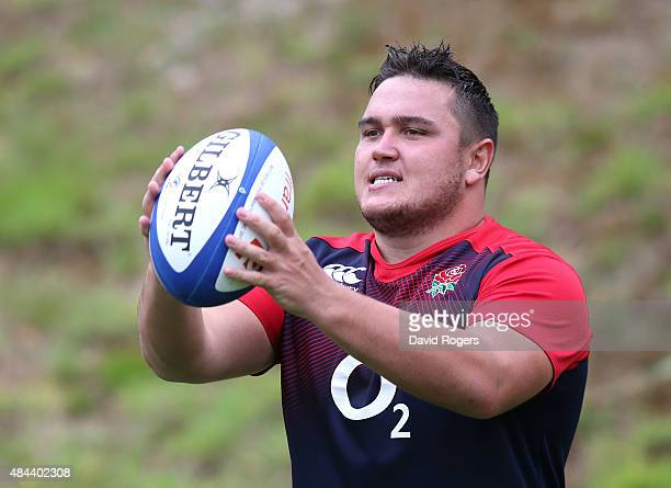 Jamie George throws the ball during the England training session held at Pennyhill Park on August 18 2015 in Bagshot England