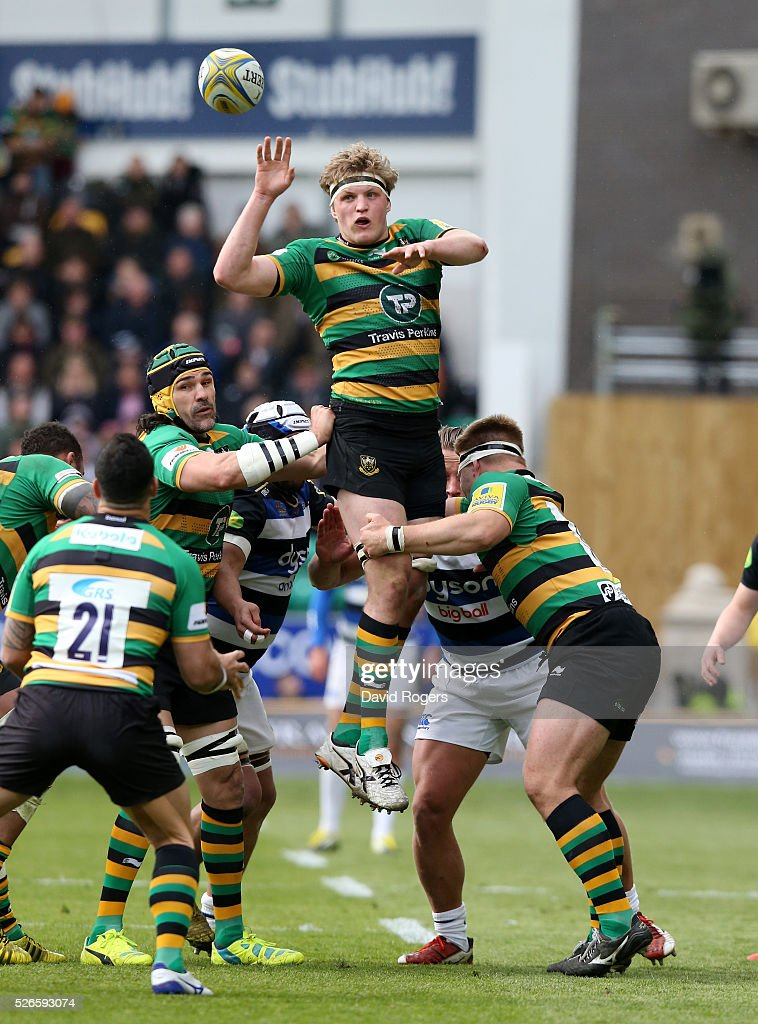 Jamie Gibson of Northampton wins the lineout during the Aviva Premiership match between Northampton Saints and Bath at Franklin's Gardens on April 30, 2016 in Northampton, England.
