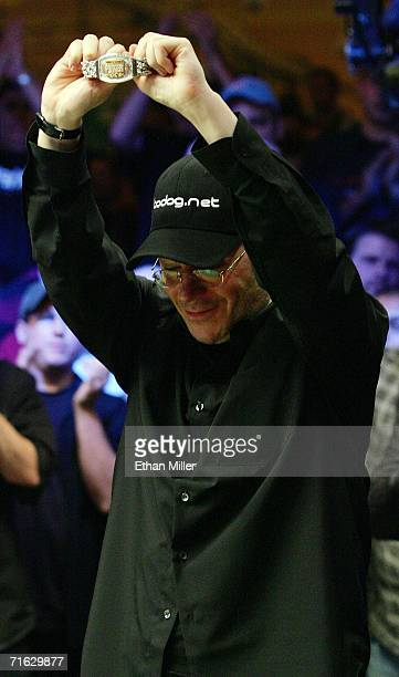 Jamie Gold of California holds the championship bracelet after he won the World Series of Poker nolimit Texas Hold 'em main event at the Rio Hotel...