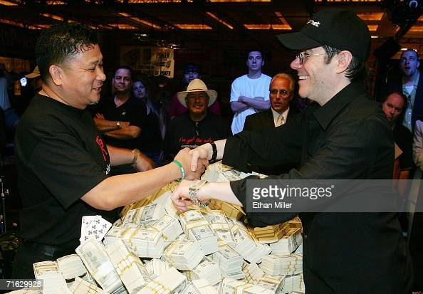 Jamie Gold of California poses with his mentor professional poker player Johnny Chan after Gold won the World Series of Poker nolimit Texas Hold 'em...
