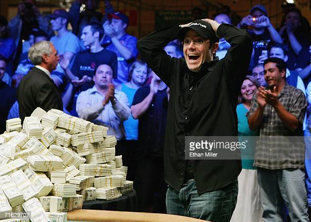 Jamie Gold of California reacts as he wins the World Series of Poker nolimit Texas Hold 'em main event at the Rio Hotel Casino August 11 2006 in Las...