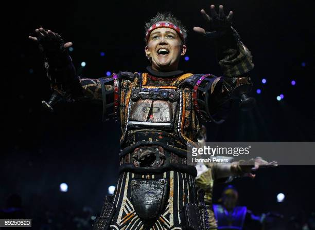 Jamie Golding who plays the character 'Rusty' in 'Starlight Express' appears on stage during the show's Auckland opening night at Vector Arena on...