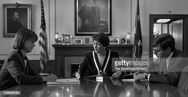 Jamie Gorelick Deputy Attorney General takes a meeting with Amy Jeffries left Counsel to DAG and Merrick Garland Principle Assistant to the DAG right...