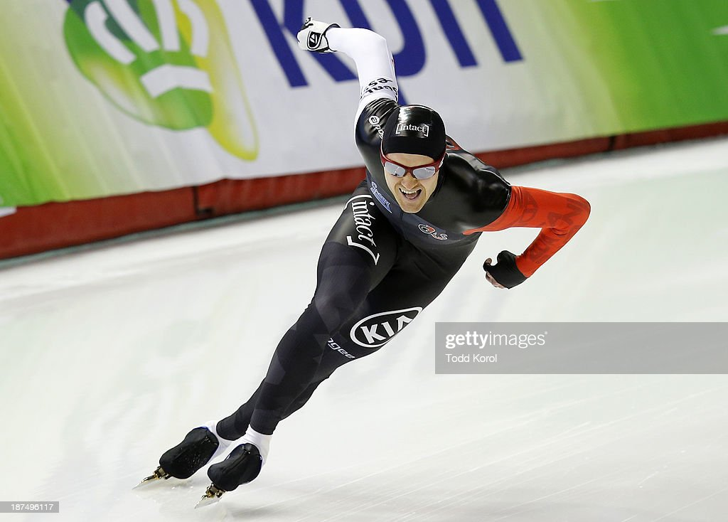 Jamie Gregg of Canada competes in the men's 1000 meter race during the ISU World Cup Speed Skating event November 9, 2013 in Calgary, Alberta, Canada.