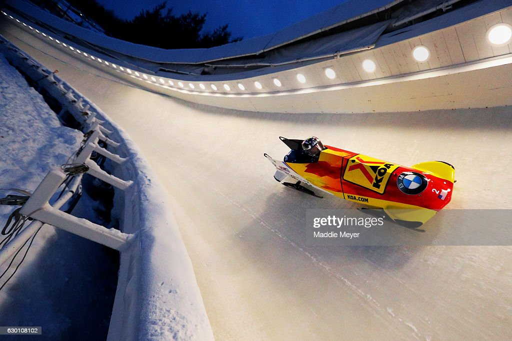 Jamie Greubel Poser and Aja Evans complete their second run during day 1 of the 2017 IBSF World Cup Bobsled & Skeleton at Lake Placid Olympic Center on December 16, 2016 in Lake Placid, New York.
