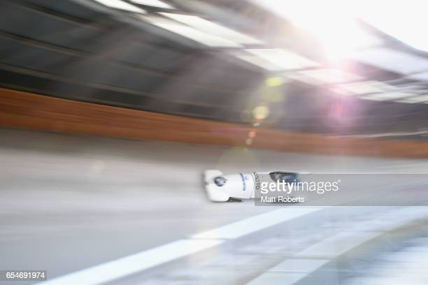 Jamie Greubel Poser and Aja Evens of USA compete in the Women's Bobsleigh during the BMW IBSF World Cup Bob Skeleton PyeongChang Presented by JIN AIR...