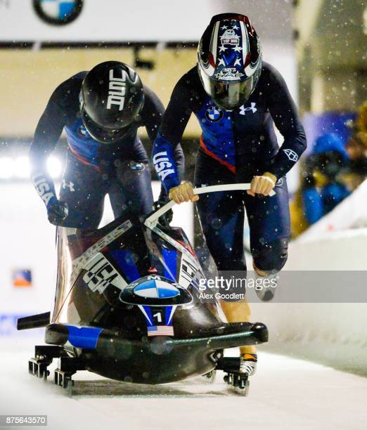 Jamie Greubel Poser and Lauren Gibbs of the USA compete in the 2woman Bobsleigh during the BMW IBSF Bobsleigh and Skeleton World Cup on November 17...