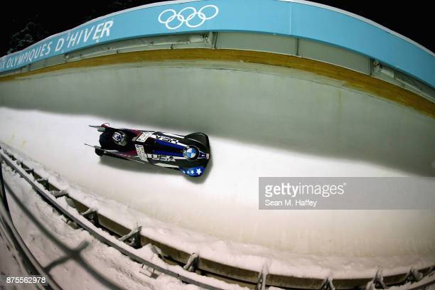 Jamie Greubel Poser and Lauren Gibbs of the USA compete in the Women's bobsled during the BMW IBSF Bobsleigh and Skeleton World Cup at Utah Olympic...