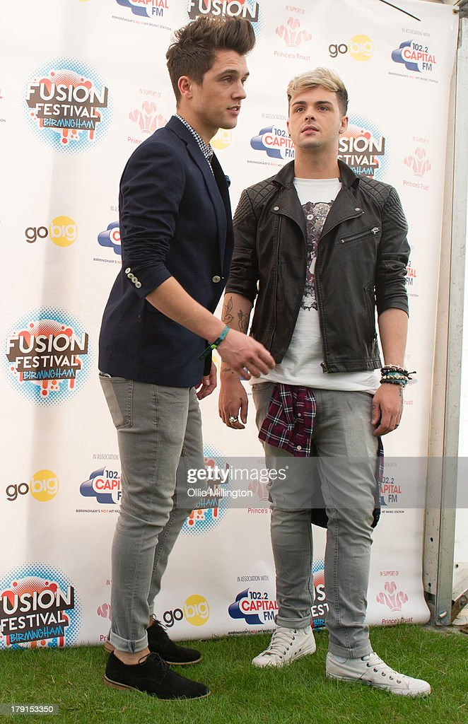 Jamie Hamblett and James Hensley of Union J seen backstage on Day 1 of Fusion Festival 2013 at Cofton Park on August 31, 2013 in Birmingham, England.