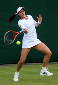 Jamie Hampton of the United States of America of America plays a forehand during her Ladies' Singles first round match against Sloane Stephens of...