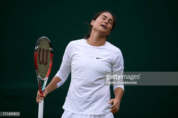 Jamie Hampton of the United States of America reacts during her Ladies' Singles first round match against Sloane Stephens of United States of America...