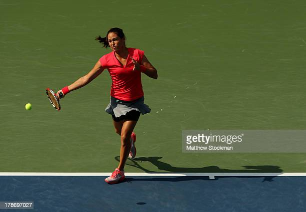 Jamie Hampton of the United States plays a forehand during her women's singles third round match against Sloane Stephens of the United States on Day...