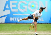Jamie Hampton of the USA in action against Agnieszka Radwanska of Poland during day four of the AEGON International tennis tournament at Devonshire...