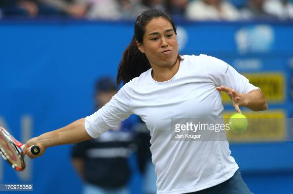 Jamie Hampton of the USA in action against Lucie Safarova of Czech Republic during day six of the AEGON International tennis tournament at Devonshire...