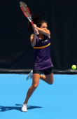Jamie Hampton of the USA plays a backhand in her semifinal match against Agnieszka Radwanska of Poland during day five of the 2013 ASB Classic at the...