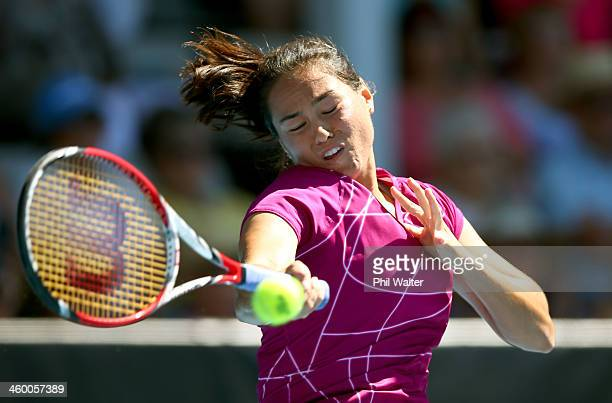 Jamie Hampton of the USA plays a forehand during her quarterfinal match against Lauren Davis of the USA on day four of the ASB Classic at the ASB...