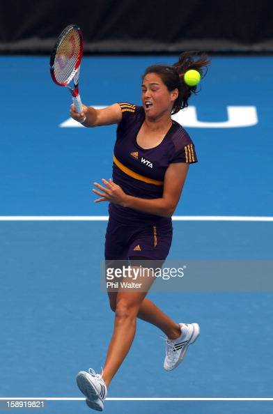 Jamie Hampton of the USA plays a forehand in her semifinal match against Agnieszka Radwanska of Poland during day five of the 2013 ASB Classic at the...