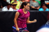 Jamie Hampton of United States celebrates winning the match against Kristyna Pliskova of Czech Republic during day three of the ASB Classic at ASB...
