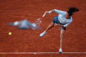 Jamie Hampton of United States of America serves in her Women's Singles match against Jelena Jankovic of Serbia during day nine of the French Open at...
