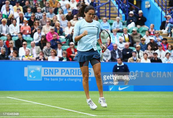 Jamie Hampton of USA celebrates a point in her women's singles semi final match against Caroline Wozniacki of Denmark during day seven of the AEGON...