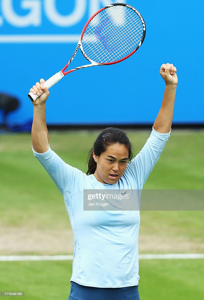 <a gi-track='captionPersonalityLinkClicked' href=/galleries/search?phrase=Jamie+Hampton&family=editorial&specificpeople=5534487 ng-click='$event.stopPropagation()'>Jamie Hampton</a> of USA celebrates victory in her women's singles semi final match against Caroline Wozniacki of Denmark during day seven of the AEGON International tennis tournament at Devonshire Park on June 21, 2013 in Eastbourne, England.