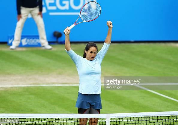 Jamie Hampton of USA celebrates victory in her women's singles semi final match against Caroline Wozniacki of Denmark during day seven of the AEGON...
