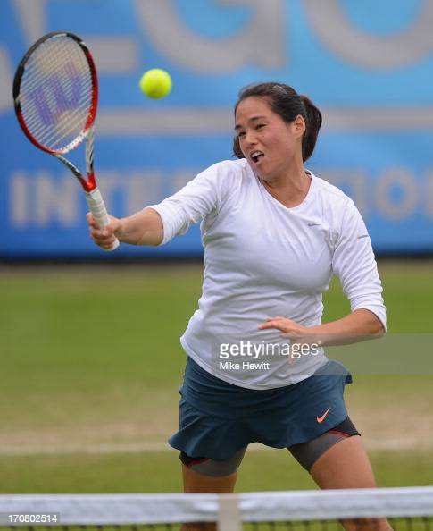 Jamie Hampton of USA in action against Agnieszka Radwanska of Poland during Day Four of the AEGON Internationa at Devonshire Park on June 18 2013 in...