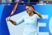 Jamie Hampton of USA reacts in her women's singles semi final match against Caroline Wozniacki of Denmark during day seven of the AEGON International...