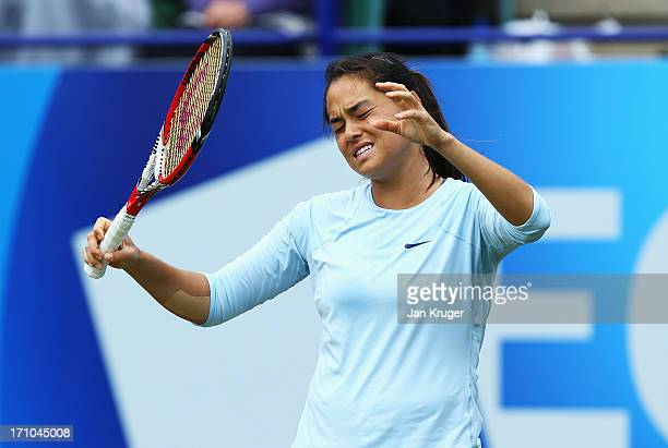 Jamie Hampton of USA reacts in her women's singles semi final match against Caroline Wozniacki of Denmark during day seven of the AEGON International...