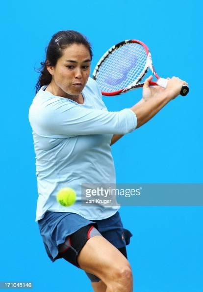 Jamie Hampton of USA returns in her women's singles semi final match against Caroline Wozniacki of Denmark during day seven of the AEGON...