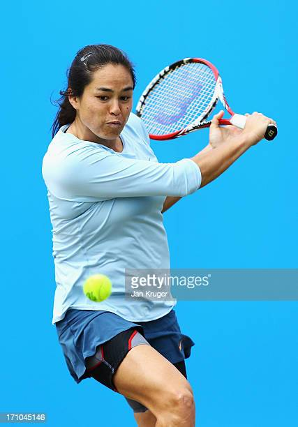 Jamie Hampton of USA returns in her women's singles semi final match against Caroline Wozniacki of Denmark during day seven of the AEGON...