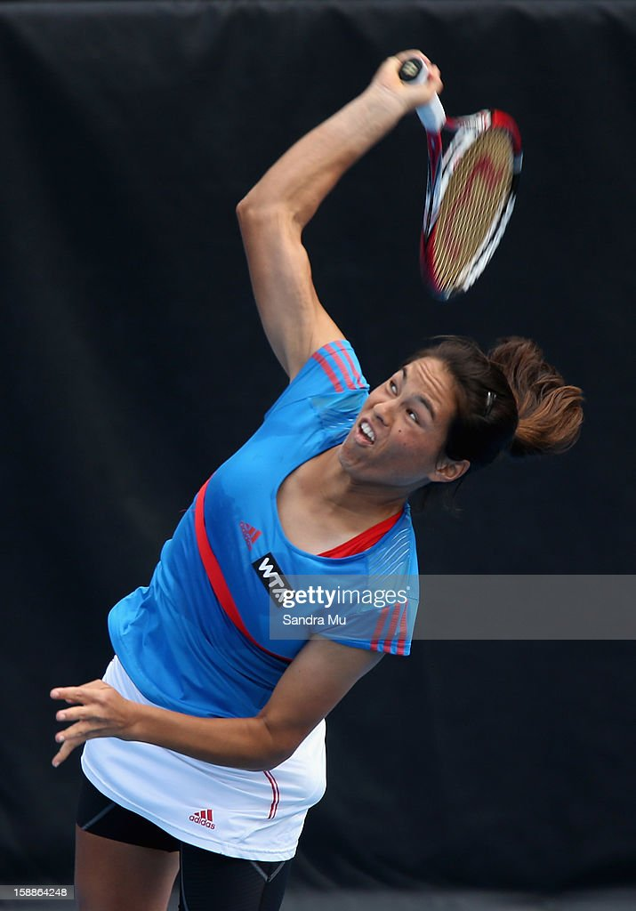 Jamie Hampton of USA serves in her second round match against Marina Erakovic of New Zealand during day three of the 2013 ASB Classic on January 2, 2013 in Auckland, New Zealand.