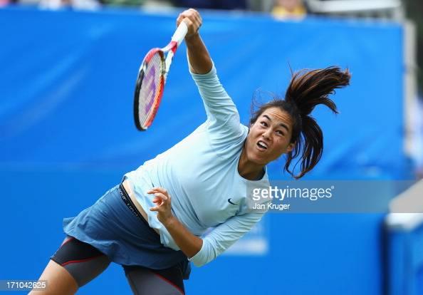Jamie Hampton of USA serves in her women's singles semi final match against Caroline Wozniacki of Denmark during day seven of the AEGON International...