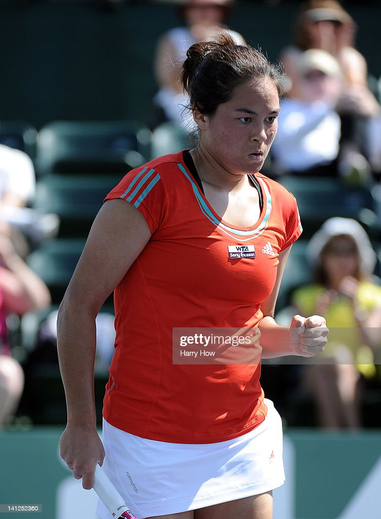 <a gi-track='captionPersonalityLinkClicked' href=/galleries/search?phrase=Jamie+Hampton&family=editorial&specificpeople=5534487 ng-click='$event.stopPropagation()'>Jamie Hampton</a> reacts after winning a game during her match against Agnieszka Radwanska of Poland at the Indian Wells Tennis Garden on March 13, 2012 in Indian Wells, California.