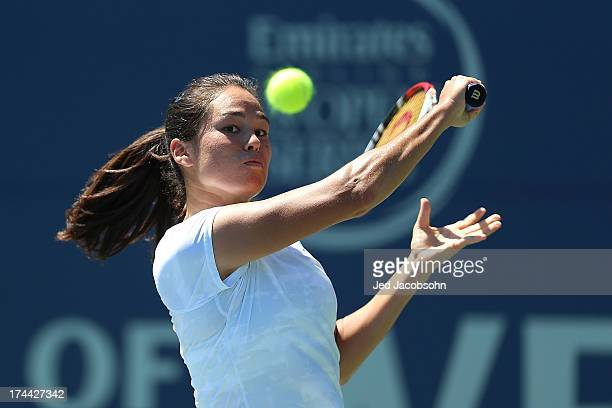 Jamie Hampton returns a shot against Nicole Gibbs during day 4 of the Bank of the West Classic at Stanford University Taube Family Tennis Stadium on...