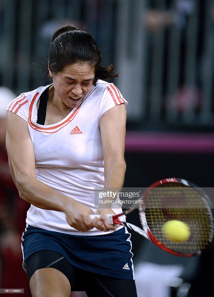 US Jamie Hampton returns the ball to her US opponent Sara Errani during their Fed Cup tennis match Italy vs USA in Rimini on February 9, 2013.