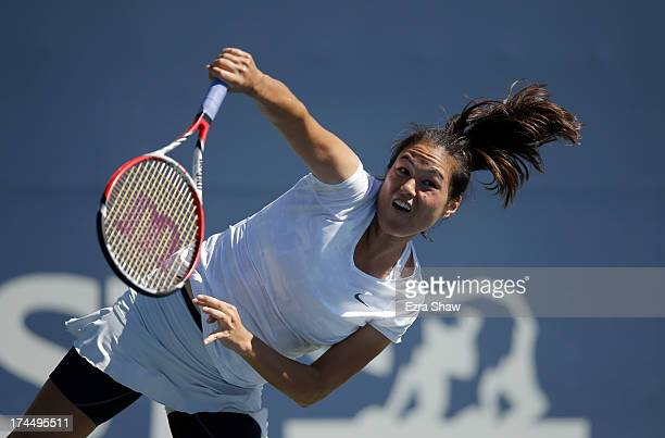 Jamie Hampton serves to Vera Dushevina of Russia during their match on Day 5 of the Bank of the West Classic at Stanford University Taube Family...